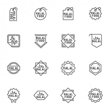 Halal food labels line icons set, outline vector symbol collection, linear style pictogram pack. Signs, logo illustration. Set includes icons as certified halal food badge, quality label, price tag icon