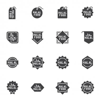 Halal food labels vector icons set, modern solid symbol collection, filled style pictogram pack. Signs, logo illustration. Set includes icons as certified halal food badge, quality label, price tag icon