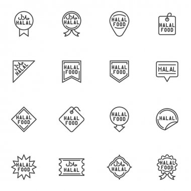 Halal food badge line icons set, outline vector symbol collection, linear style pictogram pack. Signs, logo illustration. Set includes icons as certified halal food label, price tag, quality award icon