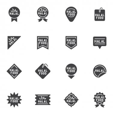 Halal food badge vector icons set, modern solid symbol collection, filled style pictogram pack. Signs, logo illustration. Set includes icons as certified halal food label, price tag, quality award icon
