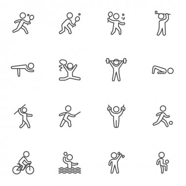 Kinds of sports line icons set, outline vector symbol collection, linear style pictogram pack. Signs, logo illustration. Set includes icons as athletics, cycling, fencing, figure, gymnastics, tennis icon