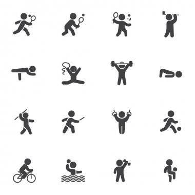 Kinds of sports vector icons set, modern solid symbol collection, filled style pictogram pack. Signs, logo illustration. Set includes icons as athletics, cycling, fencing, figure, gymnastics, tennis icon