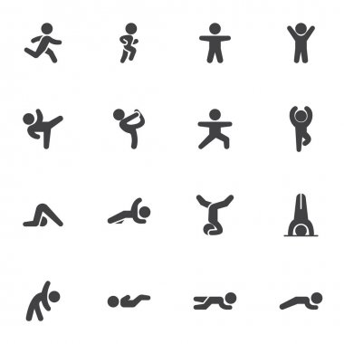 Sports exercise vector icons set, modern solid symbol collection, filled style pictogram pack. Signs, logo illustration. Set includes icons as gymnastics training, figure exercise icon