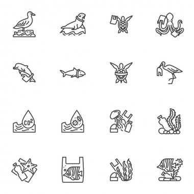 Water pollution line icons set, outline vector symbol collection, linear style pictogram pack. Signs, logo illustration. Set includes icons as environmental contaminants, marine animals with plastic icon