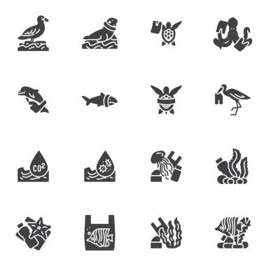 Water pollution vector icons set, modern solid symbol collection, filled style pictogram pack. Signs, logo illustration. Set includes icons as environmental contaminants, marine animals with plastic icon