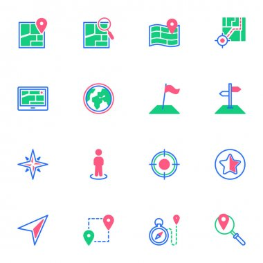GPS navigation elements collection, flat icons set, Colorful symbols pack contains - geolocation, compass, navigator cursor, location pin, geo positioning. Vector illustration. Flat style design icon