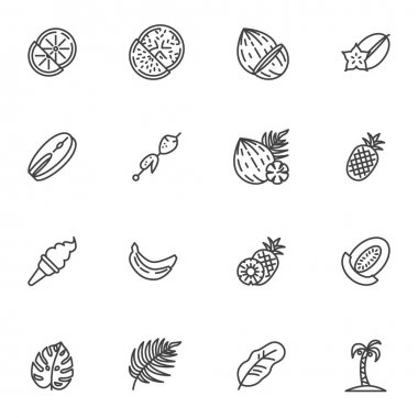 Summer food line icons set, outline vector symbol collection, linear style pictogram pack. Signs, logo illustration. Set includes icons as fruit and vegetables, pineapple, ice cream, banana, barbecue icon