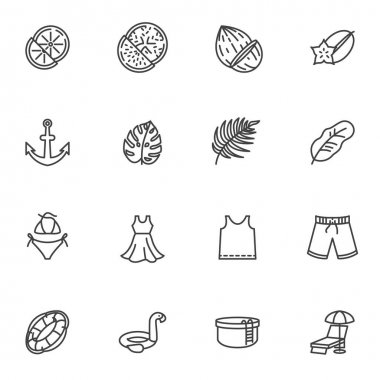 Summer related line icons set, outline vector symbol collection, linear style pictogram pack. Signs, logo illustration. Set includes icons as summer fruit, swimsuit, beach short, swimming pool, shirt icon