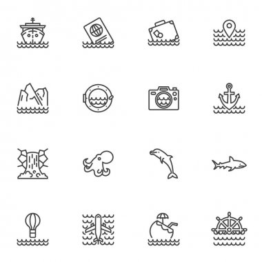 Cruise vacation line icons set, summer travel outline vector symbol collection, linear style pictogram pack. Signs, logo illustration. Set includes icons as cruise ship, travel document, baggage icon