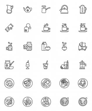 Breakfast menu line icons set. linear style symbols collection, outline signs pack. Breakfast food vector graphics. Set includes icons as cereal oatmeal porridge, pancakes, fried eggs and bacon, toast icon
