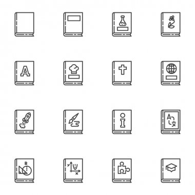 Learning education books line icons set, outline vector symbol collection, linear style pictogram pack. Signs, logo illustration. Set includes icons as school book, geography, geometry, chemistry icon