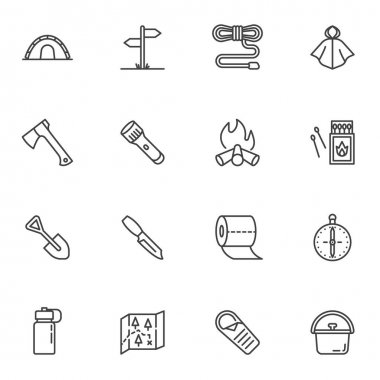 Hiking essentials line icons set, outline vector symbol collection, linear style pictogram pack. Signs, logo illustration. Set includes icons as camping tent, campfire, compass, paper map, flashlight icon