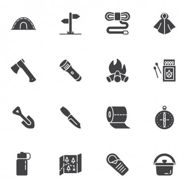 Hiking essentials vector icons set, modern solid symbol collection, filled style pictogram pack. Signs, logo illustration. Set includes icons as camping tent, campfire, compass, paper map, flashlight icon