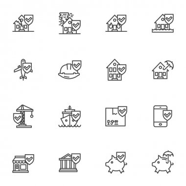 Insurance related line icons set, outline vector symbol collection, linear style pictogram pack. Signs, logo illustration. Set includes icons as travel insurance, home, finance, catastrophe, disaster icon
