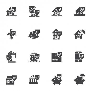 Insurance related vector icons set, modern solid symbol collection, filled style pictogram pack. Signs, logo illustration. Set includes icons as travel insurance, home, finance, catastrophe, disaster icon