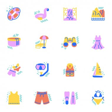 Summer travel equipment flat icons set, Colorful symbols pack contains - summer dress, bikini swimsuit, short, shirt, flipper, swimming pool, lifebuoy. Vector illustration. Flat style design icon