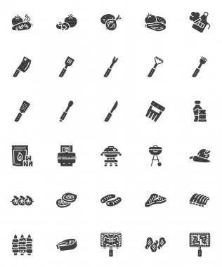 BBQ food vector icons set, modern solid symbol collection, filled style pictogram pack. Signs, logo illustration. Set includes icons as grilled chicken, roasted fish, baked vegetable, meat steak, ribs icon