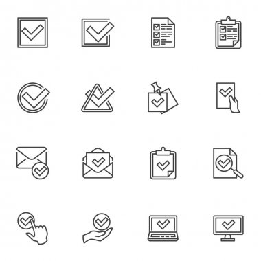 Check mark line icons set, approval and confirmation outline vector symbol collection, linear style pictogram pack. Signs, logo illustration. Set includes icons as tick, checklist document, voting icon