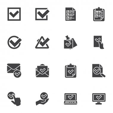 Check mark vector icons set, approval and confirmation modern solid symbol collection, filled style pictogram pack. Signs, logo illustration. Set includes icons as tick, checklist document, voting icon