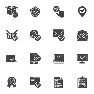 Approval and confirmation vector icons set, check mark modern solid symbol collection, filled style pictogram pack. Signs, logo illustration. Set includes icons as select, choice, checklist, done icon