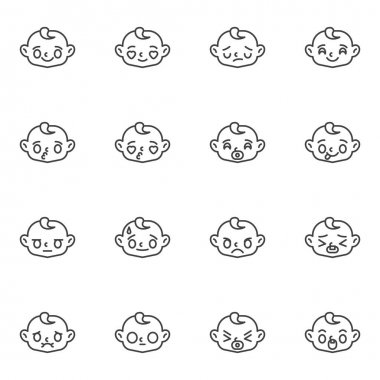 Baby face emoticon line icons set, outline vector symbol collection, linear style pictogram pack. Signs, logo illustration. Set includes icons as happy baby face emotion, kissing child emoji, angry icon
