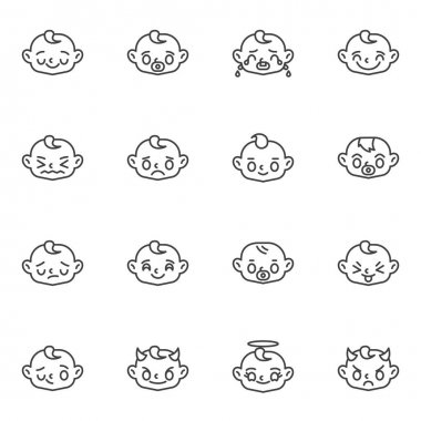 Baby face emoji line icons set, outline vector symbol collection, linear style pictogram pack. Signs, logo illustration. Set includes icons as child face smiley, happy baby emoticon, crying, smiling icon