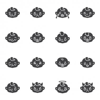 Baby face emoji vector icons set, modern solid symbol collection, filled style pictogram pack. Signs, logo illustration. Set includes icons as child face smiley, happy baby emoticon, crying, smiling icon