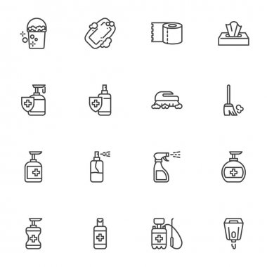 Cleaning and disinfection line icons set, hygiene outline vector symbol collection, linear style pictogram pack. Signs, logo illustration. Set includes icons as hand sanitizer gel, antibacterial spray icon