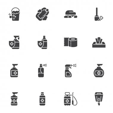 Cleaning and disinfection vector icons set, hygiene modern solid symbol collection, filled style pictogram pack. Signs, logo illustration. Set includes icons as hand sanitizer gel, antibacterial spray icon