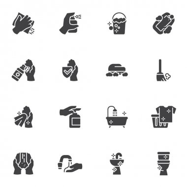 Washing and cleaning vector icons set, disinfection modern solid symbol collection, filled style pictogram pack. Signs, logo illustration. Set includes icons as antiseptic spray bottle, sanitizer gel icon
