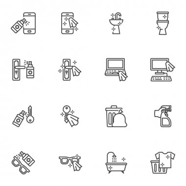 Disinfection related line icons set, outline vector symbol collection, linear style pictogram pack. Signs logo illustration. Set includes icons as smartphone sanitizer spray, toilet cleaning, computer icon