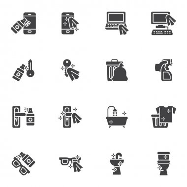 Disinfection related vector icons set, modern solid symbol collection, filled style pictogram pack. Signs, logo illustration. Set includes icons as smartphone sanitizer spray, toilet cleaning icon