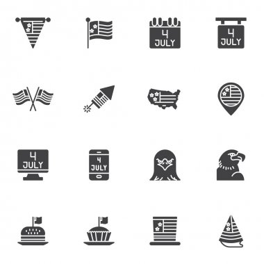 United States independence day vector icons set, modern solid symbol collection, filled style pictogram pack. Signs, logo illustration. Set includes icons as fourth of july calendar day, USA flag, map icon