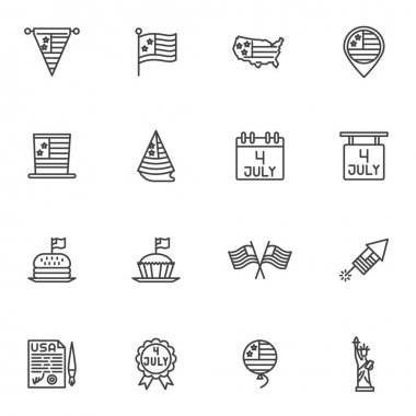 American independence day line icons set, outline vector symbol collection linear style pictogram pack. Signs logo illustration. Set includes icons as 4 july calendar day, USA flag, United States map icon