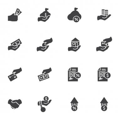 Credit and loan vector icons set, business and finance modern solid symbol collection, filled style pictogram pack. Signs, logo illustration. Set includes icons as credit card, cash money payment icon