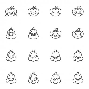 Pumpkin emoji line icons set, outline vector symbol collection, linear style pictogram pack. Signs, logo illustration. Set includes icons as happy halloween pumpkin smiley, smiling emoticon icon