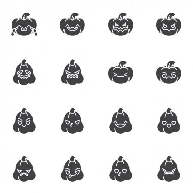 Pumpkin emoji vector icons set, modern solid symbol collection, filled style pictogram pack. Signs, logo illustration. Set includes icons as happy halloween pumpkin smiley, smiling emoticon icon