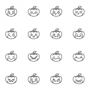 Halloween pumpkin character emoji line icons set, outline vector symbol collection, linear style pictogram pack. Signs logo illustration. Set includes icons as happy halloween pumpkin emoticon, smiley icon