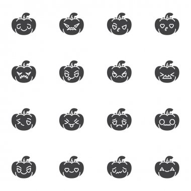 Halloween pumpkin character emoji vector icons set, modern solid symbol collection, filled style pictogram pack. Signs, logo illustration. Set includes icons as happy halloween pumpkin emoticon icon
