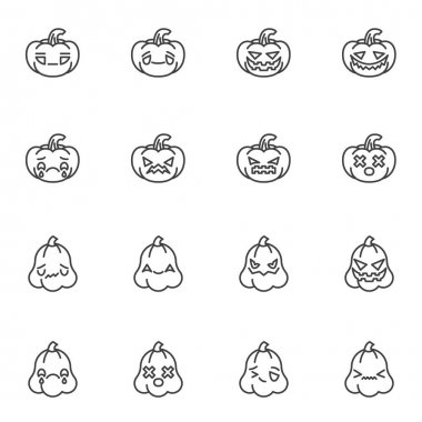 Halloween pumpkin emoji line icons set, outline vector symbol collection, linear style pictogram pack. Signs logo illustration. Set includes icons - happy halloween pumpkin emoticon, happy smiley face icon