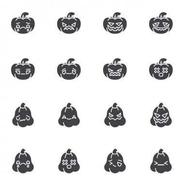 Halloween pumpkin emoji vector icons set, modern solid symbol collection, filled style pictogram pack. Signs logo illustration. Set includes icons - happy halloween pumpkin emoticon, happy smiley face icon
