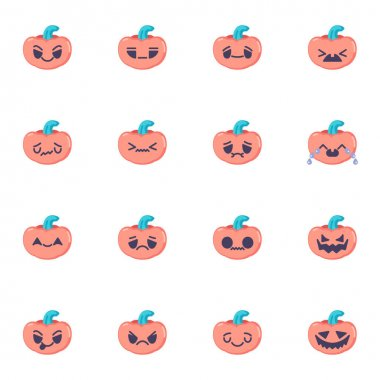 Pumpkin emoji collection, flat icons set, Colorful symbols pack contains - happy halloween pumpkin smiley, smiling emoticon. Vector illustration. Flat style design icon
