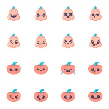 Halloween pumpkin emoji collection, flat icons set, Colorful symbols pack contains - happy halloween pumpkin emoticon, happy smiley face. Vector illustration. Flat style design icon