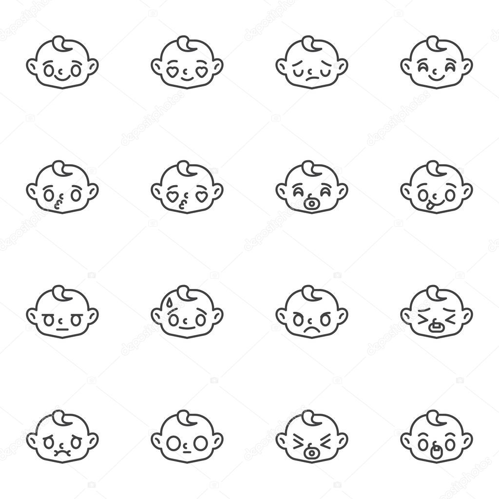 Baby face emoticon line icons set  outline vector symbol collection  linear style pictogram pack icon