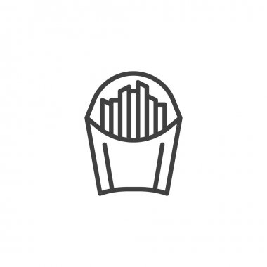 French fries paper bag line icon. linear style sign for mobile concept and web design. French fries sticks outline vector icon. Symbol, logo illustration. Vector graphics icon