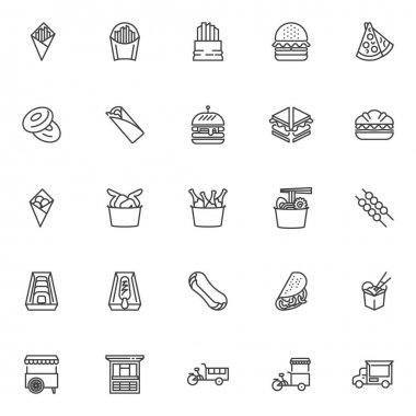 Street food line icons set. linear style symbols collection, outline signs pack. Fast food vector graphics. Set includes icons - french fries, burger, sandwich, noodles, street cart, taco, chicken leg icon