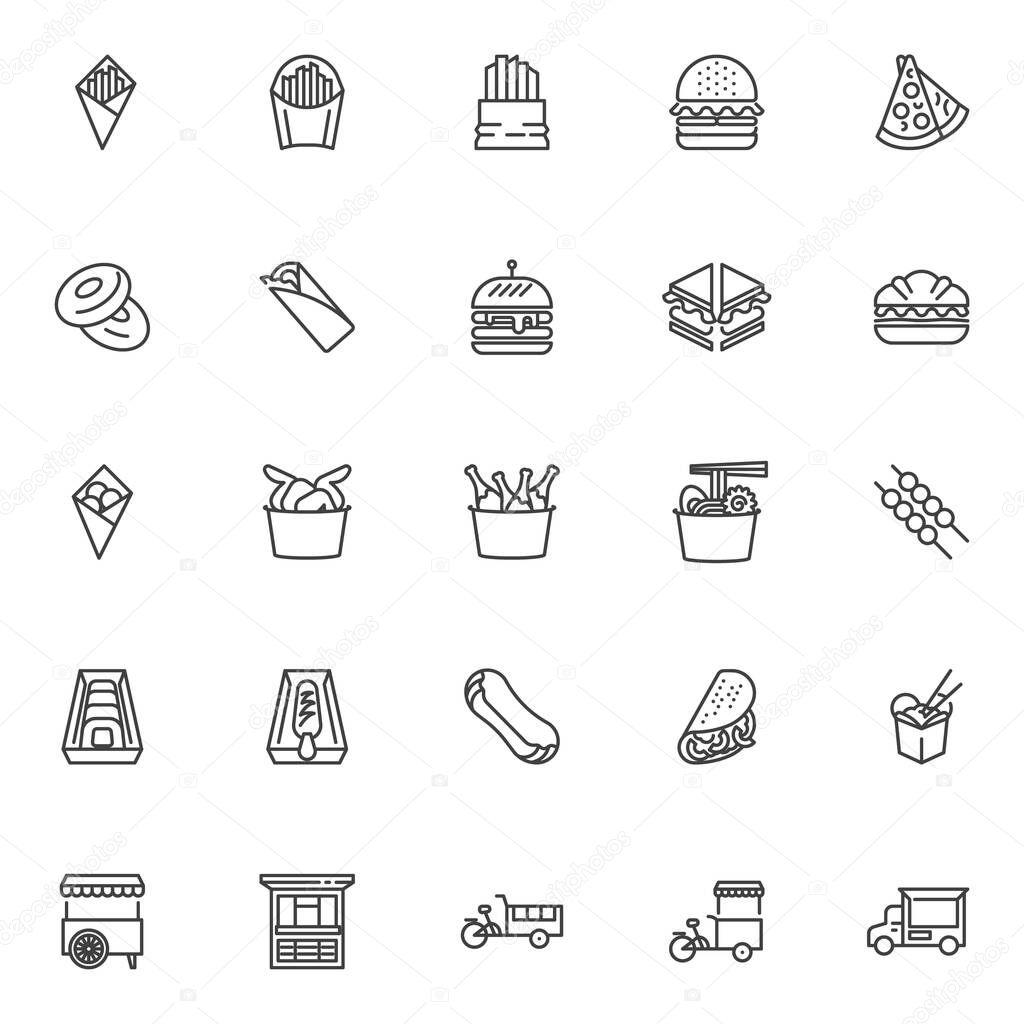 Street food line icons set icon