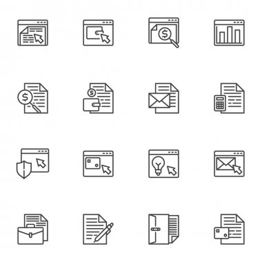 Online business line icons set, Business and finance outline vector symbol collection, linear style pictogram pack. Signs, logo illustration. Set includes icons as seo, online shop, email marketing icon