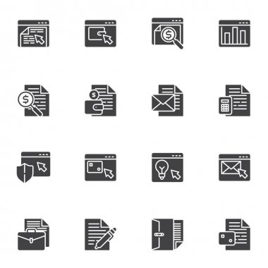 Online business vector icons set, Business and finance modern solid symbol collection, filled style pictogram pack. Signs, logo illustration. Set includes icons as seo, online shop, email marketing icon