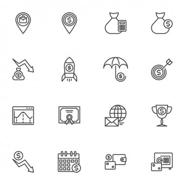 Business money line icons set, outline vector symbol collection, linear style pictogram pack. Signs, logo illustration. Set includes icons as startup rocket, money bag, dollar currency wallet, bank icon